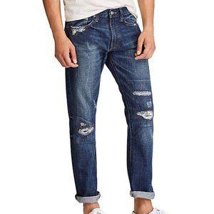 Varick Slim Straight Blue Jeans Size 40x30 Distres